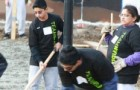 Students at Overfelt High received help for a campus makeover from employees of NVIDIA and Mayor Chuck Reed.