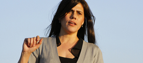 Magdalena Carrasco skipped a candidate's forum last week to address a small group of voters at Capital Park.