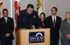 The business travel plans of SJPD Chief Chris Moore, center, were called into question in an article with serious undertones.