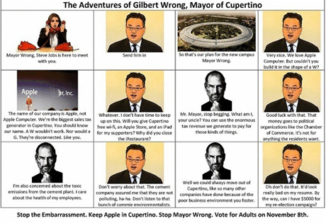 This is a portion of a comic strip/political attack ad sent out by email to voters this past weekend against Cupertino Mayor Gilbert Wong.