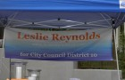 """Leslie Reynolds, a San Jose Unified school board member, actively campaigned for District 10's City Council seat last August with a booth at an event called called """"Grande-Licious"""" in Almaden."""