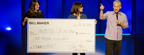 Bill Maher put his money where his mouth is last week in San Jose when he announced a $1 million personal donation to President Obama's Super PAC to help defeat Republicans in November's election. (Photo by Steve Jennings)