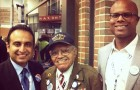 Ash Kalra, left, spent time at the Democratic National Convention meeting a number of elected officials and delegates, including 91-year-old war veteran Stephen E. Sherman (center), a delegate from San Fernando Valley.