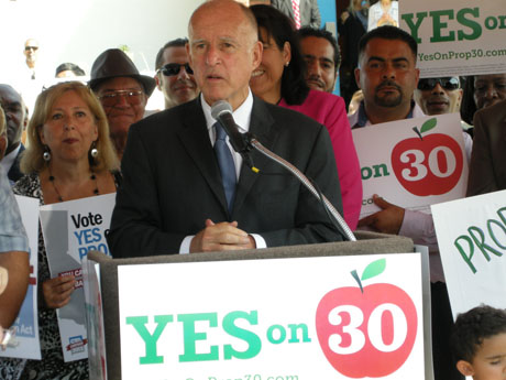 Governor Jerry Brown argues that Prop. 30 is the best way for California to confront the state's staggering deficit and avoid even greater cuts to public education. (Photo by California Teachers Association, via Flickr)