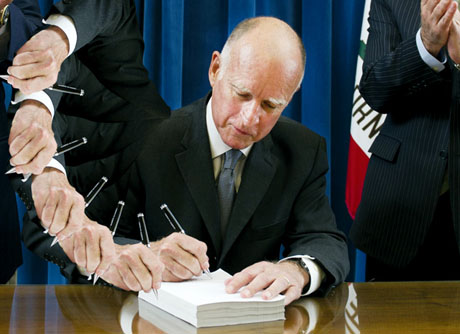 Gov. Jerry brown signed almost 900 bills into law this past year, pushing him to a new record for total bills signed into law by a California governor. (Image by Kara Brown)