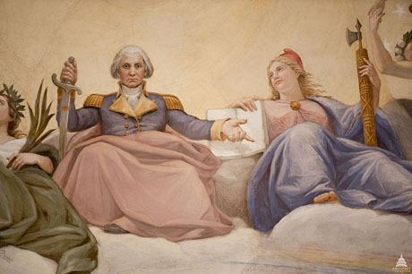"""The """"Apotheosis of Washington"""" can be found in the eye of the Rotunda of the U.S. Capitol. Washington's birthday is recognized as a federal holiday but many now refer to it as Presidents' Day. (Photo by Architect of the Capitol, via Wikimedia Commons)"""