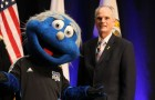 Chuck Reed and others on stage were surprised by the appearance of several mascots, including Q of the San Jose Earthquakes, during the State of the City address Thursday night at the San Jose Civic Auditorium.