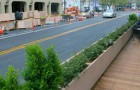 Sidewalks in San Jose's South of First Area (SoFA) district were widened in 2009 to encourage sidewalk cafes.