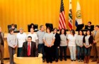 Members of San Jose State University's CommUniverCity program are honored at City Hall last year.