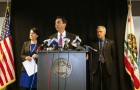 DA Jeff Rosen, center, along with Karyn Sinunu-Towery and Michael Brown, announced 12 criminal charges last Friday against former Supervisor George Shirakawa. The DA said its investigation was sparked by a Metro/San Jose Inside report and a Public Records Act request. (Photo by Geoffrey Smith II)