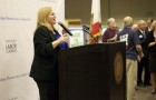 Cindy Chavez speaks to a crowd at the Labor Temple on election night last November.
