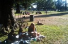 A family gathers for a picnic at Hamann Park during last year's National Night Out event.