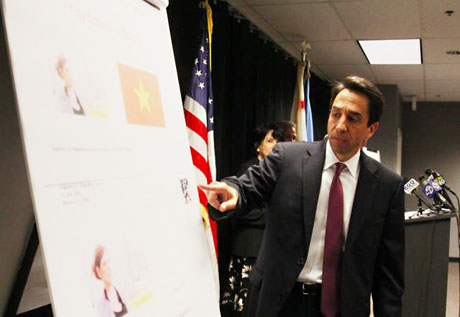 District Attorney Jeff Rosen points to a picture of a fraudulent mailer that investigators say George Shirakawa Jr. was responsible for sending. (Photo by Dan Pulcrano)