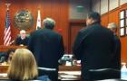 George Shirakawa Jr., right, and his attorney John Williams speak to Judge Philip Pennypacker at Friday's sentencing hearing.