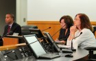 The Fair Political Practices Commission met last month in the Santa Clara County Board of Supervisors chambers, where (from left) commissioners Eric Casher, Ann Ravel and Patricia Wynne discussed a variety of issues related to political activities in the state. (Photo by Tim Reynolds)
