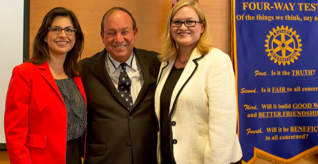 Judge Arthur Weisbrodt, center, asked Alvarado, left, why she didn't attack Chavez, right, as corrupt and dishonest. (Photo courtesy San Jose Rotary)