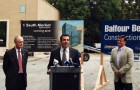 San Jose Councilman Sam Liccardo speaks at the groundbreaking for 1 South Market, along with Mayor Chuck Reed, left, and San Jose Silicon Valley Chamber of Commerce VP Jim Reed (no relation).