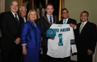 San Jose councilmembers (from left) Johnny Khamis, Rose Herrera, Ash Kalra and Xavier Campos present a Sharks jersey to Dublin Lord Mayor Oisín Quinn (middle). Tim Quigley, president of the Dublin Sister City Program, stands in the back.