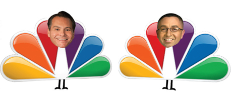 San Jose Councilman Xavier Campos, left, and NBC reporter Damian Trujillo came together last week for a hard-hitting interview. Or was it free air time for a friend?