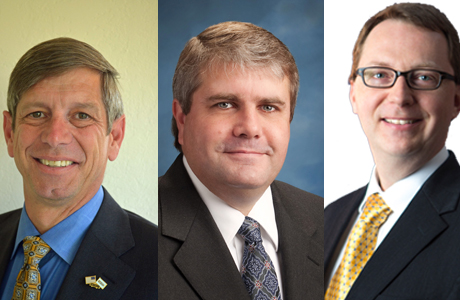 Glenn Hendricks (from left), Jim Griffith and Gustav Larsson all won seats Tuesday on the Sunnyvale City Council.