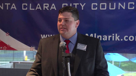 John Mlnarik didn't win a seat on the Santa Clara City Council, and now he's being accused of breaking campaign laws. (Screenshot via YouTube)