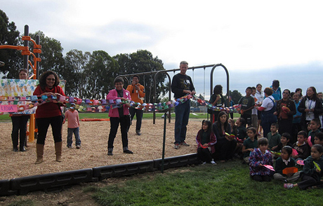 KaBoom! unveils a recently built community playground. The nonprofit is helping to bring a similar playground to San Jose.