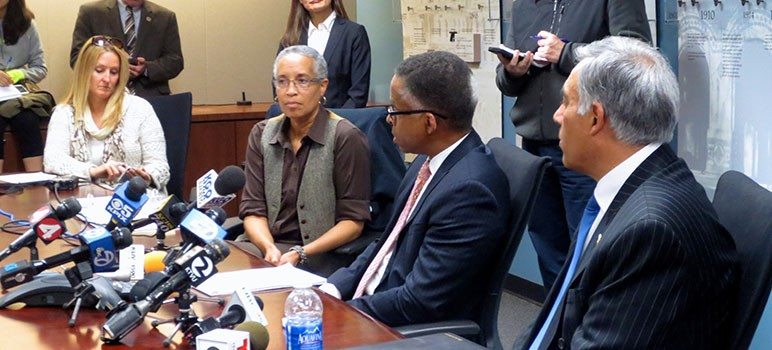 Task force chair LaDoris Cordell, auditor Mike Moyes and SJSU President Mohammad Qayoumi (left to right) talk to the media about alleged hate crimes that occurred on campus. (Photo by Jennifer Wadsworth)
