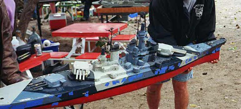 City leaders will consider allowing model ships like these fire weapons at one another.
