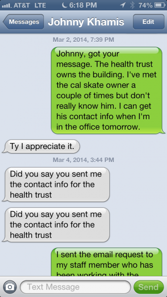 This a screenshot of text messages between San Jose councilmembers Ash Kalra (right column) and Johnny Khamis.
