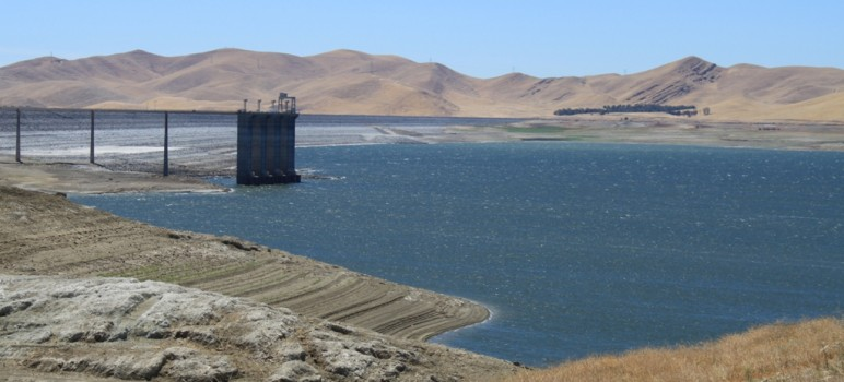 The drought has severely lowered San Luis Resevoir's water level.
