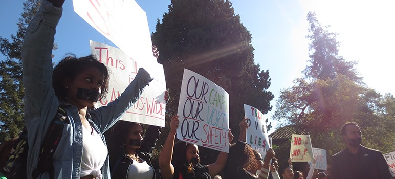 Students protest San Jose State University's campus climate, which they say is unwelcoming to African Americans.
