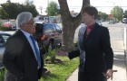 Rep. Mike Honda (left) and Sparky Harlan outside a Bill Wilson Center group home in downtown San Jose.