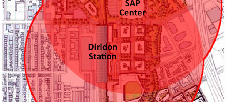Diridon-Plan-Area-with-One-Third-Mile-Radius-Zones