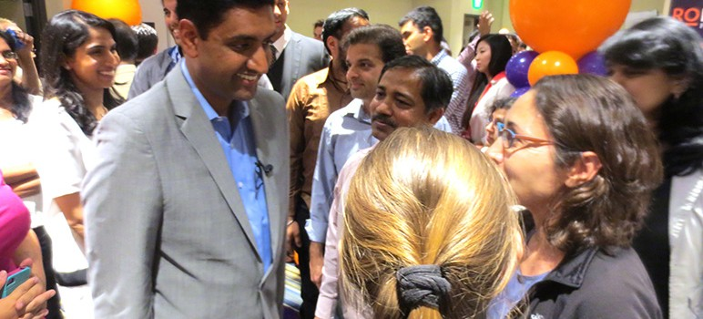 Ro Khanna chats with campaign volunteers at his election night party.