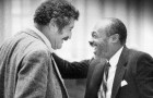 The late John Vasconcellos, left, and Willie Brown share a laugh during their time together at the State Capitol.