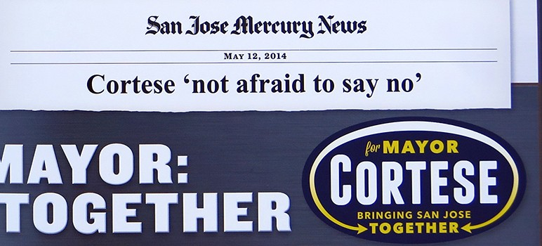 "This ""news clip"" appeared in a recent mailer sent out by Dave Cortese's campaign for mayor of San Jose."