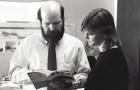 San Jose Rep founder James Reber and Alexandra Urbanowski, a former managing director, look over a manuscript.