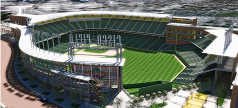 An artist's rendering shows what the A's new stadium would look like if built in San Jose.