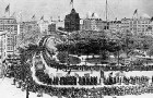 """This image depicts the first """"Labor Day"""" celebration in New York City's Union Square in 1882. (Image via Wikipedia)"""