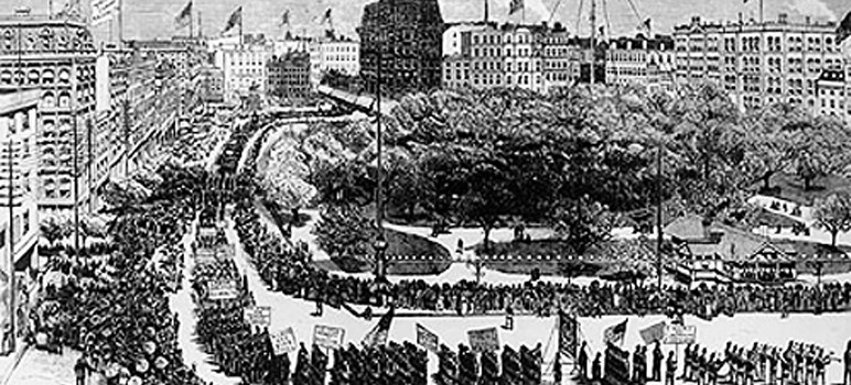 "This image depicts the first ""Labor Day"" celebration in New York City's Union Square in 1882. (Image via Wikipedia)"