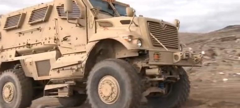 A mine-resistant vehicle similar to this was acquired by San Jose police earlier this year. (Image via Navistar Defense)