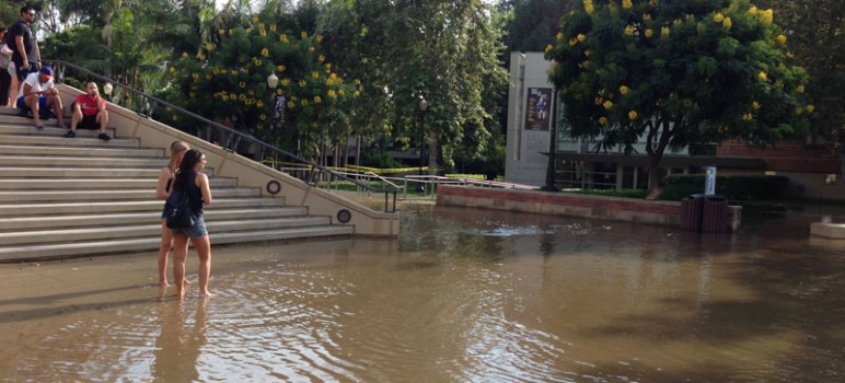 A water main rupture earlier this month flooded the UCLA campus, causing millions of dollars in damage. (Photo by Carla Bales, via UCLA.edu)