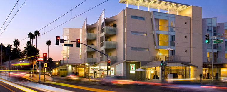 Gish Affordable Apartments in downtown San Jose require residents to meet strict income requirements. (Photo via GishApartments.org)