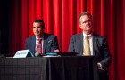 Sam Liccardo and Dave Cortese (left to right) appeared at a mayoral forum at Mitty High School over the weekend. (Photo by Brian Kirksey)