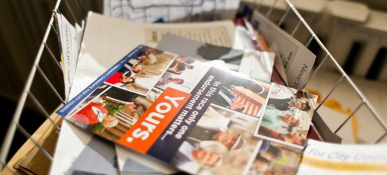 (There's a difference between an accountability mailer and a hit piece. Photo by Stephen Nessen/WNYC)