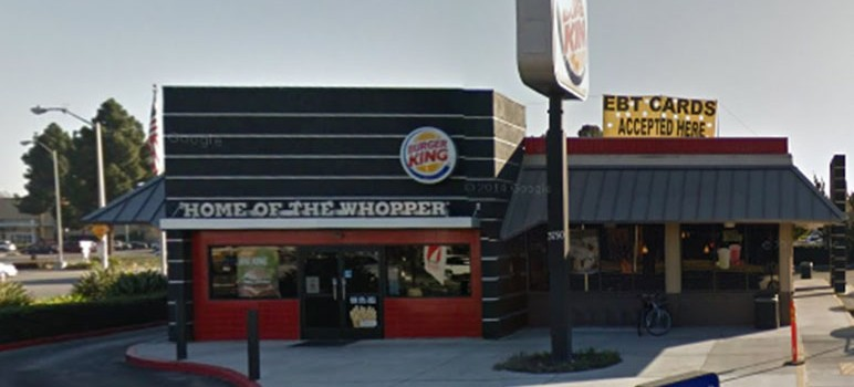 This Burger King in Santa Clara was cited for failing to properly dispose of sewage. (Photo via Google Street View)