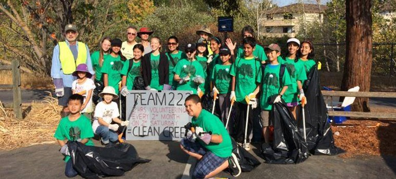 Moreland Middle School's volunteer crew helped clean up Guadalupe River this summer.