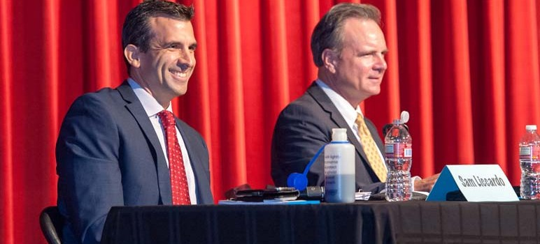 A new poll released by the campaign of Sam Liccardo, left, has him tied with Dave Cortese in the San Jose mayor's race. (Photo by Brian Kirksey)