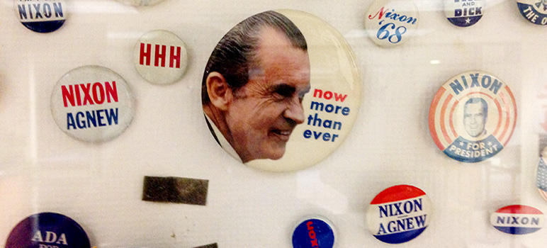 he county Registrar of Voters has a surprisingly large collection of Richard Nixon campaign buttons.