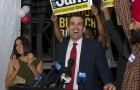San Jose mayoral candidate Sam Liccardo gave an early victory speech on Election Night as results continued to come in to the Registrar of Voters. (Photo by Brian Kirksey)